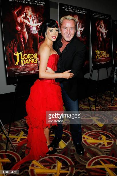 Dancer Ciara Sexton and actor Michael Flatley attend the New York premiere of Michael Flatley's Lord Of The Dance 3D at AMC Loews Lincoln Square on...