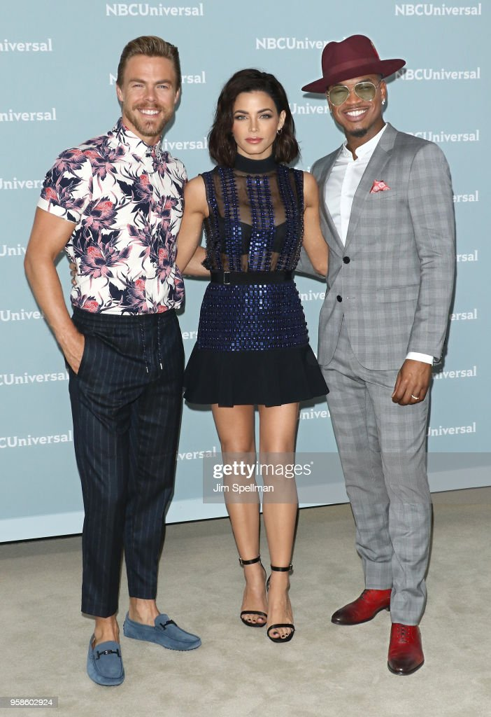 Dancer Derek Hough, actress Jenna Dewan and singer Ne-Yo attend the 2018 NBCUniversal Upfront presentation at Rockefeller Center on May 14, 2018 in New York City.