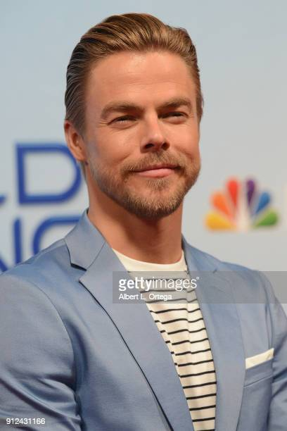 Dancer Derek Hough attends the photo op for NBC's 'World Of Dance' held at NBC Universal Lot on January 30 2018 in Universal City California