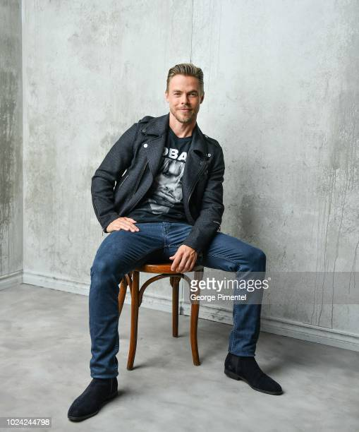 Dancer Derek Hough poses in the 2018 iHeartRADIO MuchMusic Video Awards Portrait Studio at MuchMusic HQ on August 26 2018 in Toronto Canada