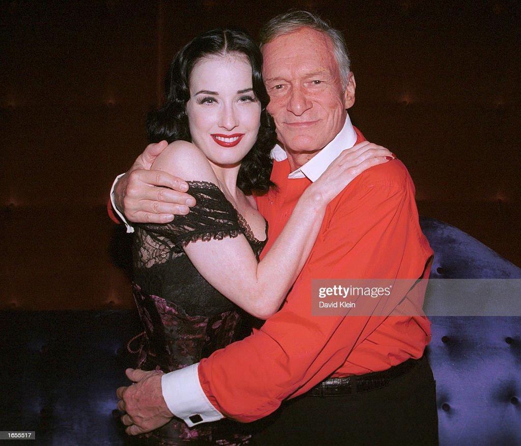 Dancer Dita Von Teese And Playboy Founder Hugh Hefner Attend The