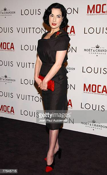 Dancer Dita Von Teese arrives at the Murakami Gala at MOCA hosted with Louis Vuitton celebrating the Murakami exhibition held at the Geffen...