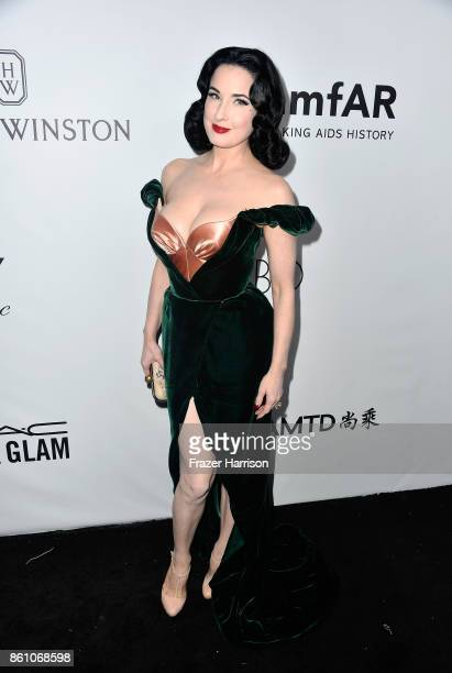 Dancer Dita Von Teese attends the amfAR Gala at Ron Burkle's Green Acres Estate on October 13 2017 in Beverly Hills California