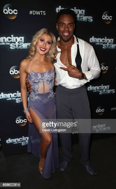 Dancer Emma Slater and NFL player Rashad Jennings attend 'Dancing with the Stars' Season 24 at CBS Televison City on March 27 2017 in Los Angeles...