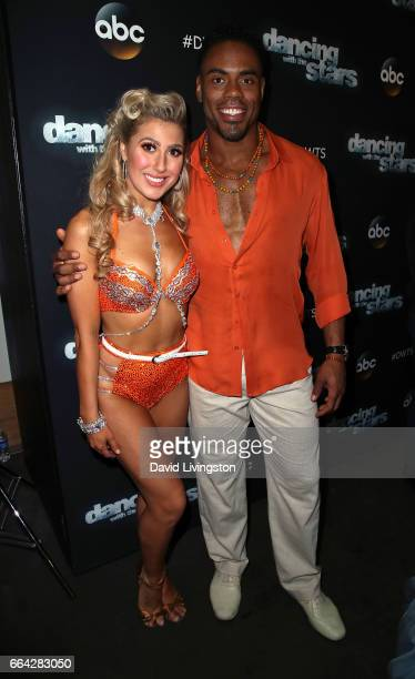 Dancer Emma Slater and NFL player Rashad Jennings attend 'Dancing with the Stars' Season 24 at CBS Televison City on April 3 2017 in Los Angeles...