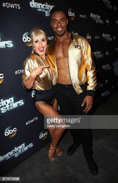 Dancer Emma Slater and NFL player Rashad Jennings attend 'Dancing with the Stars' Season 24 at CBS Televison City on April 24 2017 in Los Angeles...