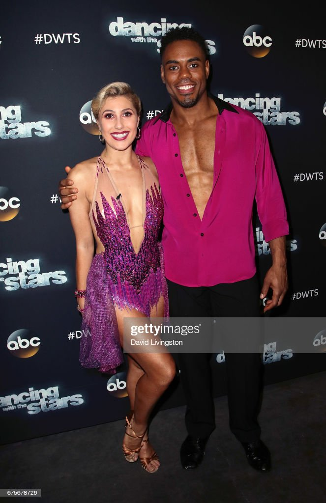Dancer Emma Slater (L) and NFL player Rashad Jennings attend 'Dancing with the Stars' Season 24 at CBS Televison City on May 1, 2017 in Los Angeles, California.