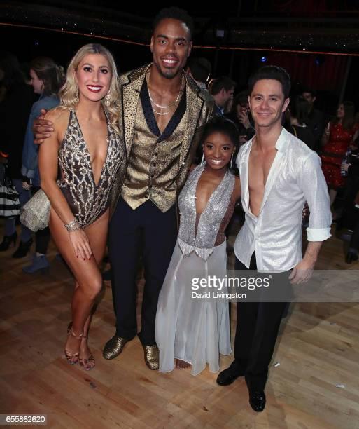 Dancer Emma Slater NFL player Rashad Jennings Olympian Simone Biles and dancer Sasha Farber attend 'Dancing with the Stars' Season 24 premiere at CBS...