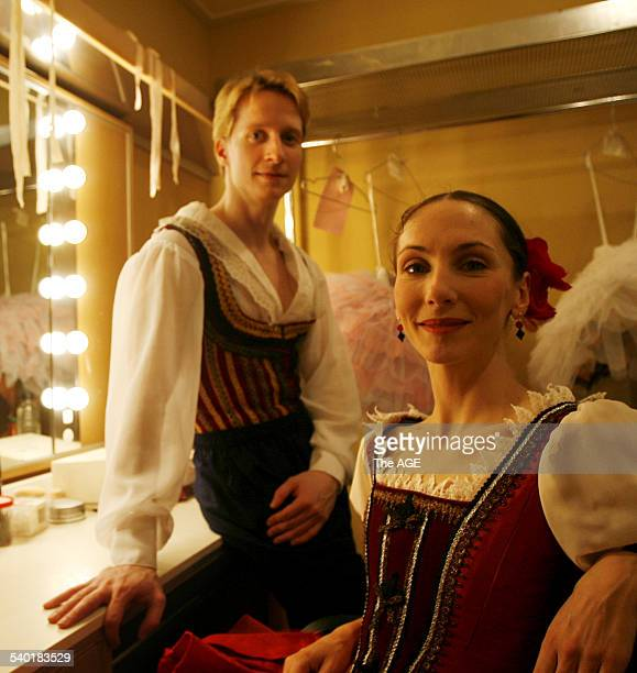 Dancer Ethan Stiefel left star of New York's American Ballet Theatre in the dressing room with Rachel Rawlins before rehearsals for their lead roles...