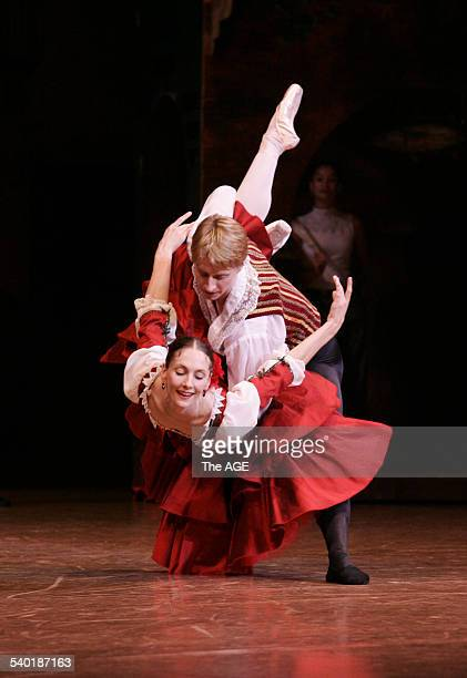 Dancer Ethan Stiefel, star of New York's American Ballet Theatre, rehearses with Rachel Rawlins, in preparation for their lead roles as Basilio and...
