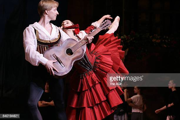 Dancer Ethan Stiefel star of New York's American Ballet Theatre rehearses with Rachel Rawlins in preparation for their lead roles as Basilio and...