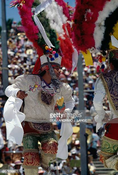 Dancer Feather dance during the celebrations at the Guelaguetza festival Oaxaca Mexico