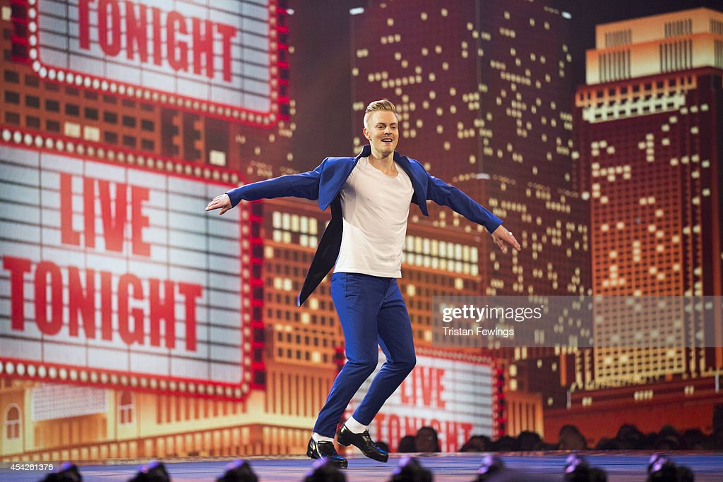 Dancer Freddie Huddleston performs on stage during the third live show of 2014's 'Got To Dance' at Earls Court on August 27, 2014 in London, England.
