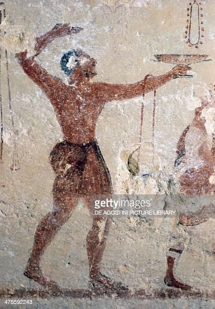 Dancer fresco of Cardarelli Tomb Necropolis of Tarquinia Lazio Italy Etruscan civilisation 6th century BC