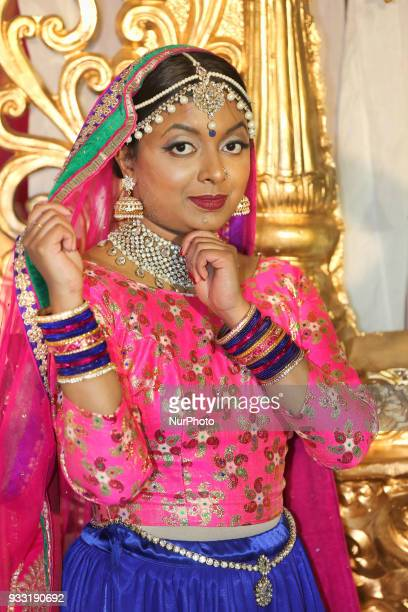Dancer from Sathangai Narthanalaya poses before performing a traditional dance to the Ghoomar song from the Bollywood film Padmaavat during the...