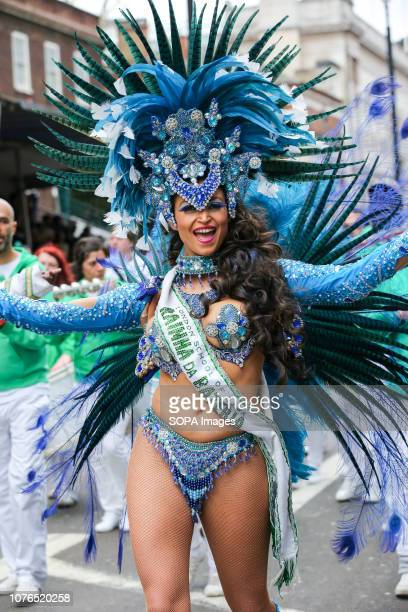 A dancer from the London School of Samba seen during the parade Over half a million spectators lined up the 22 mile route from Piccadilly Circus to...