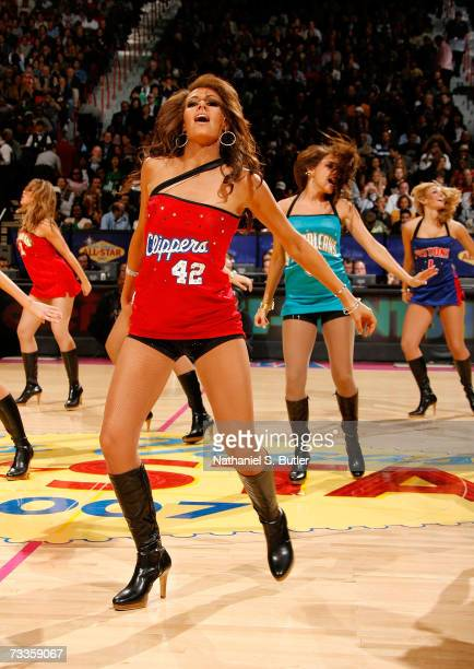A dancer from the Los Angeles Clippers performs during the Footlocker ThreePoint Shootout at NBA AllStar Weekend on February 17 2007 at the Thomas...