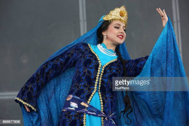 Dancer from the Silk Road Dance Company performs a traditional Persian dance in Toronto Ontario Canada The Silk Road Dance Company enthralled the...