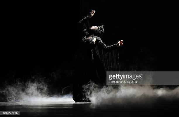 Dancer Gaelle Chappaz from Ballet Preljocaj plays the role of the Mother in a scene called The Birth during a dress rehearsal April 23 2014 as The...