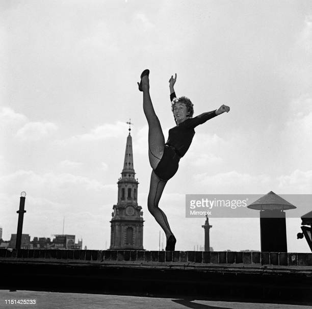 Dancer Gillian Lynne the lead solo dancer of a new American musical Can Can which is opening at the Stoll Theatre practising her routine on a rooftop...