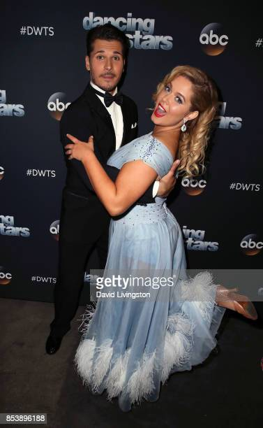 Dancer Gleb Savchenko and actress Sasha Pieterse attend 'Dancing with the Stars' season 25 at CBS Televison City on September 25 2017 in Los Angeles...