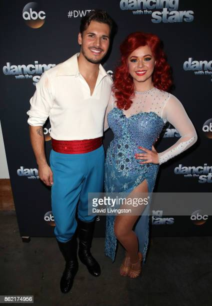 Dancer Gleb Savchenko and actress Sasha Pieterse pose at 'Dancing with the Stars' season 25 at CBS Televison City on October 16 2017 in Los Angeles...