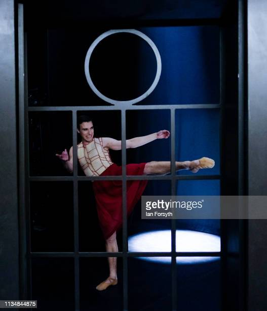 A dancer goes through parts of his routine as he waits for Act 2 to begin during the World Premier of Northern Ballet's performance of 'Victoria' at...
