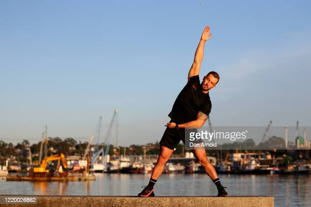 Dancer Heath Keating is seen recording a dance/fitness routine on the shoreline at Blackwattle Bay on April 21 2020 in Sydney Australia Prime...