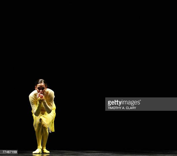 Dancer Helene Bourbeillon with the Ballet Du Grand Theatre De Geneve performs ParaDice during a dress rehearsal before opening night 23 October 2007...