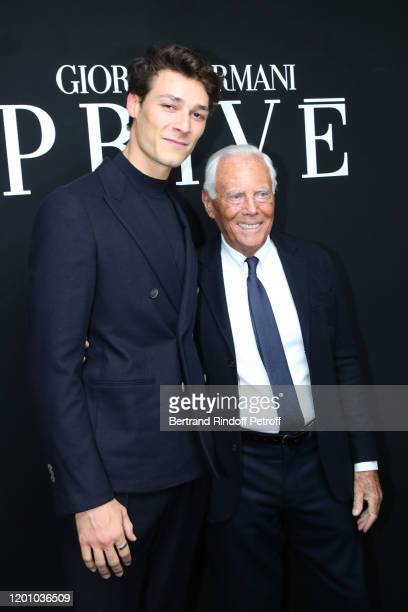 Dancer Hugo Marchand and Giorgio Armani pose after the Giorgio Armani Prive Haute Couture Spring/Summer 2020 show as part of Paris Fashion Week on...