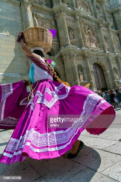 dancer in a purple skirt at the dia de los muertos festival in oaxaca - mexican fiesta stock pictures, royalty-free photos & images