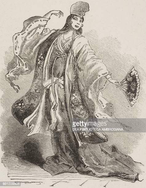Dancer in the Kamakura court Japan drawing by Alphonse de Neuville after a Japanese painting from Japan by Aime Humbert 18631864 from Il Giro del...