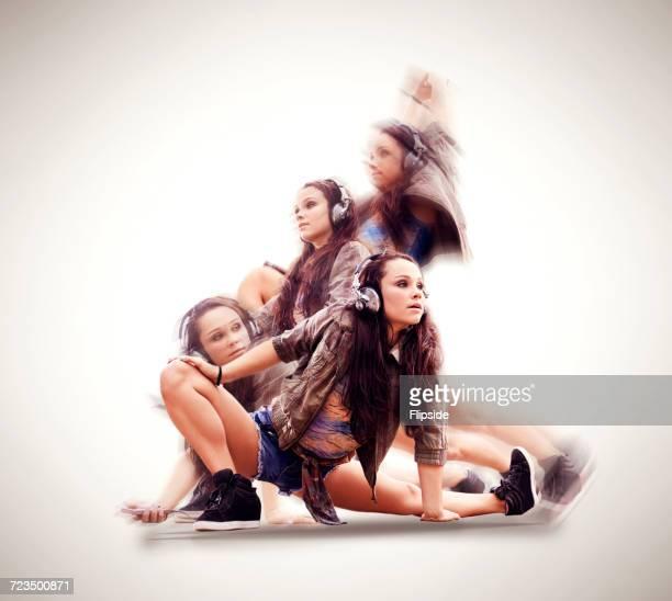 dancer in various poses - darstellender künstler stock-fotos und bilder