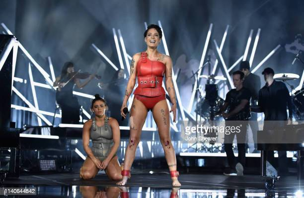 Dancer Jade Chynoweth and Halsey perform onstage during the 2019 Billboard Music Awards at MGM Grand Garden Arena on May 1 2019 in Las Vegas Nevada
