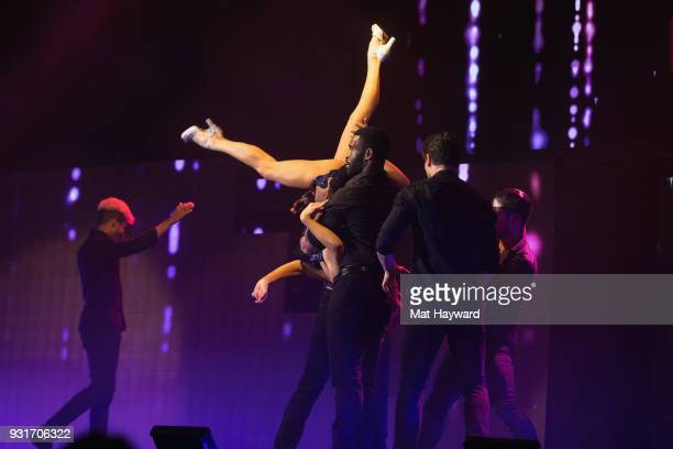 Dancer Jenna Johnson performs on stage during Dancing With The Stars Live at WaMu Theater on March 13 2018 in Seattle Washington
