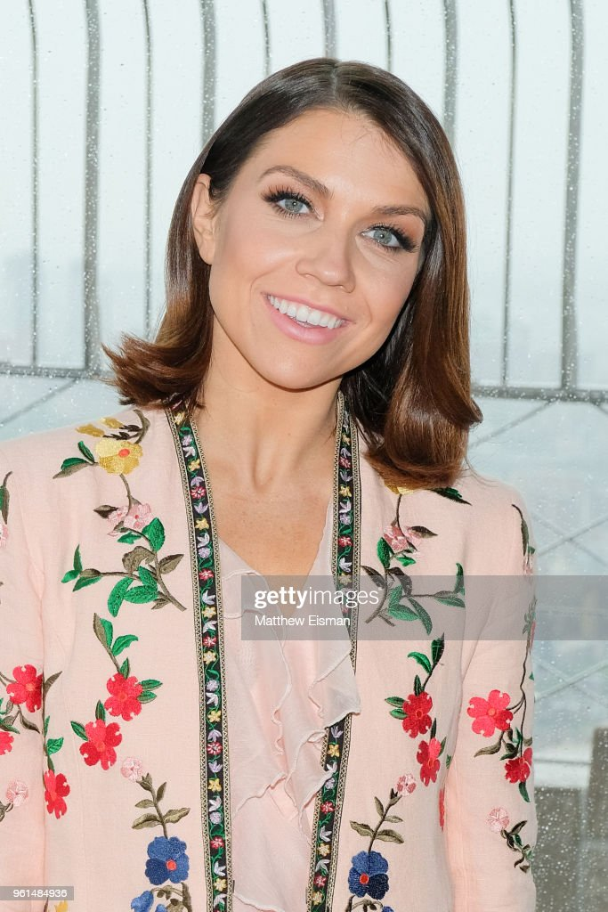 Dancer Jenna Johnson poses for a photo to celebrate the 'Dancing With The Stars' Finale at The Empire State Building on May 22, 2018 in New York City.