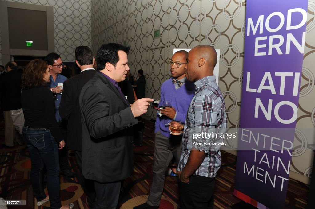 Dancer Jimmy R.O. Smith, fashion designer Charlie Lapson and dancer George Jones Jr. attend the ANA Multicultural Cocktail Reception sponsored by NUVOtv at JW Marriott Los Angeles at L.A. LIVE on November 3, 2013 in Los Angeles, California.