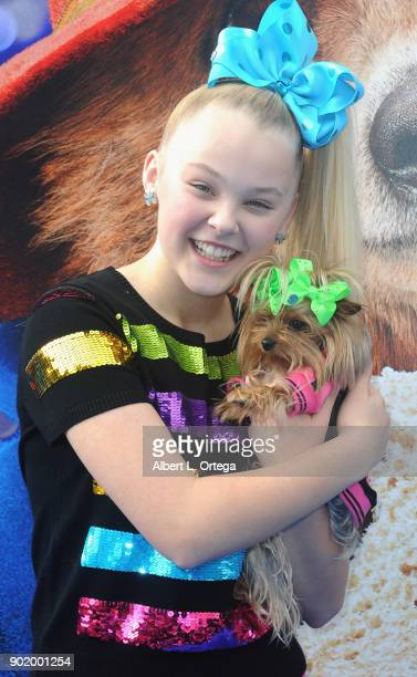 Dancer JoJo Siwa and dog BoBo arrive for the premiere of Warner Bros Pictures' 'Paddington 2' held at Regency Village Theatre on January 6 2018 in...