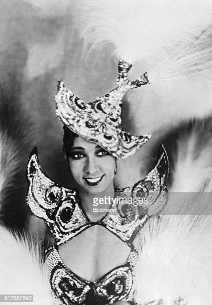 Dancer Josephine Baker in Paris in one of her wellknown exotic costumes