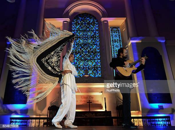 Dancer Juana Calzadilla and musician Cano during a rehearsal of 'Flamenco en Blanco y Negro', at the 2014 Dublin Flamenco Festival, St Michan's...