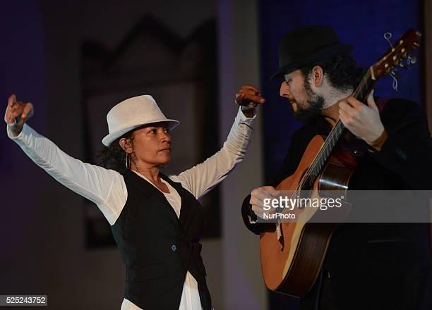 Dancer Juana Calzadilla and musician Cano during a rehersal of 'Flamenco en Blanco y Negro' at the 2014 Dublin Flamenco Festival St Michan's Church...
