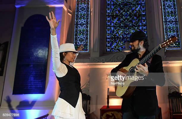 Dancer Juana Calzadilla and musician Cano during a rehersal of 'Flamenco en Blanco y Negro', at the 2014 Dublin Flamenco Festival, St Michan's...