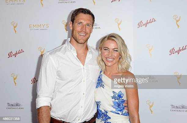 Dancer Julianne Hough and her fiance NHL player Brooks Laich arrive at the Television Academy's cocktail reception for The 67th Emmy Award Nominees...