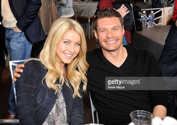 Dancer Julianne Hough and TV personality Ryan Seacrest attend Fox's Super Bowl XLV Pregame Show at Dallas Cowboys Stadium on February 6, 2011 in...