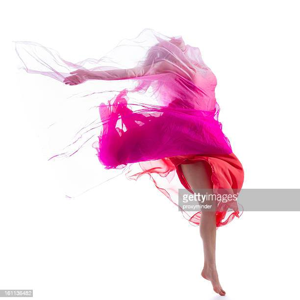 dancer jump on white background with pink fabric - uitvoerende kunst voorstelling stockfoto's en -beelden