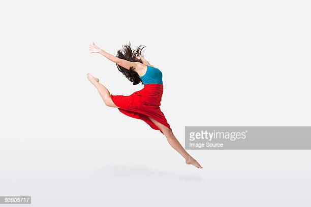 dancer jumping - blue skirt stock pictures, royalty-free photos & images