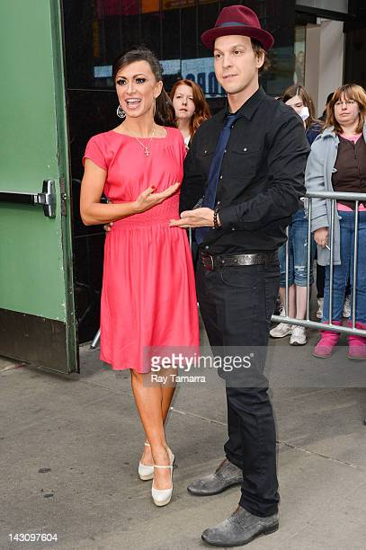 Dancer Karina Smirnoff and singer Gavin DeGraw leave the Good Morning America taping at the ABC Times Square Studios on April 18 2012 in New York City