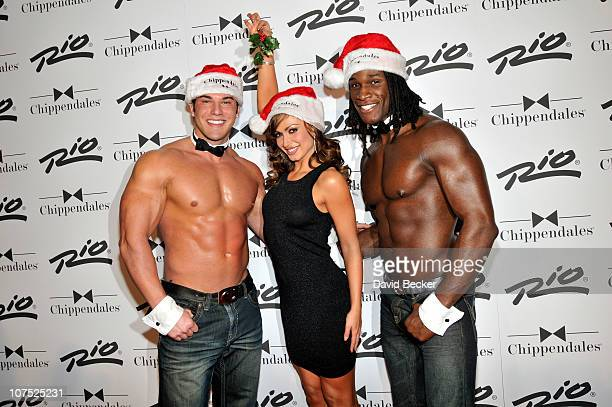 Dancer Karina Smirnoff appears with Chippendales dancers Lind Walter and Chaun Thomas Williams as she arrives to hosts the 'Ultimate Girls Night Out'...
