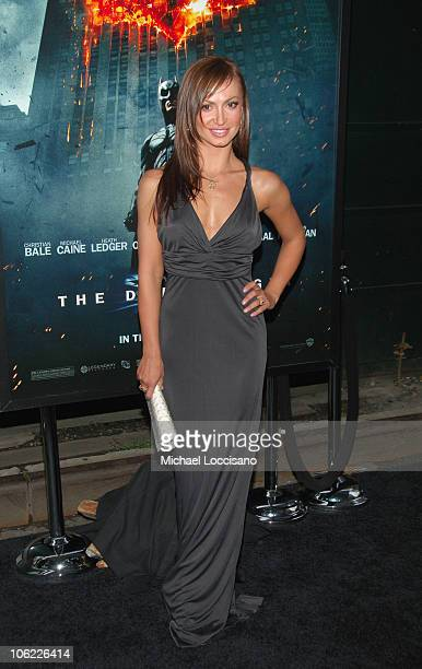"""Dancer Karina Smirnoff attends the """"The Dark Knight"""" premiere at the AMC Loews Lincoln Square theater on July 14, 2008 in New York City."""
