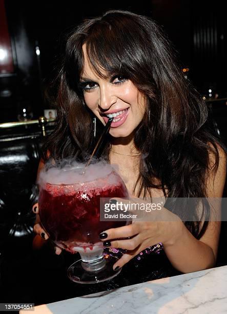 Dancer Karina Smirnoff dines at the Sugar Factory American Brasserie at the Paris Las Vegas on January 14, 2012 in Las Vegas, Nevada.